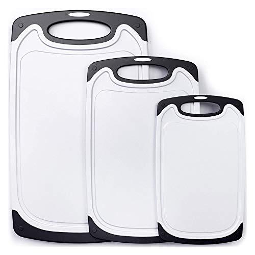 CHINZIO Tabla de Cortar, Juego de 3 piezas Plástico Tablas de Cortar con Profundo Goteo Jugo de Ranura, Apta para Lavavajillas, Libres de BPA, Base Antideslizante - Blanco