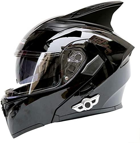 Casco Bluetooth para motocicleta, con cuernos, doble lente frontal antivaho y antirreflectante, actualización Bluetooth K5, micrófono integrado 3D, certificación de calidad DOT/ECE, 9, XL