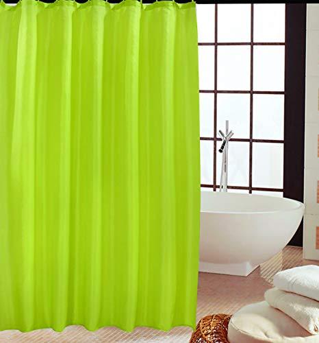 KAV - Duschvorhänge, Duschvorhang aus Polyester, Anti-Schimmel, Anti-Bakteriell, Schimmelresistenter & Wasserabweisend mit 12 Duschvorhangringen, 180 x 180 cm, hellgrün/lind grün