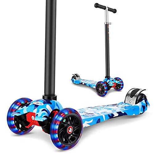 WeSkate Roller Kinder Dreiradscooter mit PU LED Leuchtenden Räder,einstellbaren Höhe und Doppel-Hinterrad Big Rädern Kinderscooter für Kinder Jungen Mädchen 3-12 Jahre alt (Navy-Blau)