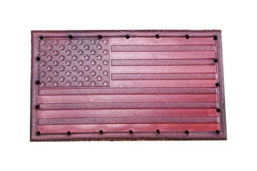USA Flag Patch - American Flag - Genuine Leather - Hand Tooled - 4' x 2.25' - Made In The USA