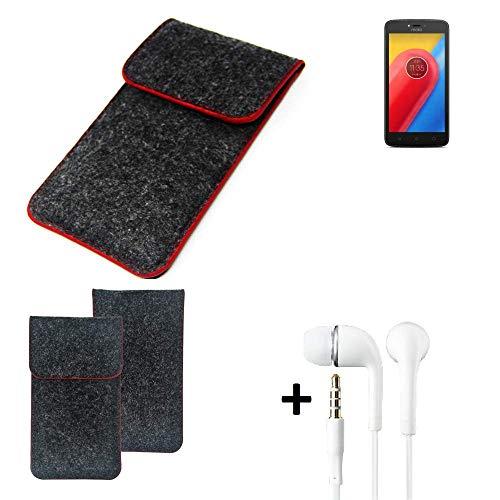 K-S-Trade Handy Schutz Hülle Für Lenovo Moto C LTE Schutzhülle Handyhülle Filztasche Pouch Tasche Hülle Sleeve Filzhülle Dunkelgrau Roter Rand + Kopfhörer