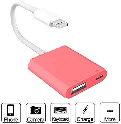 USB Camera to lightening, USB 3.0 Female OTG, USB 3.0 Female Otg to lightening with USB Power Interface Data, No App Required (White)