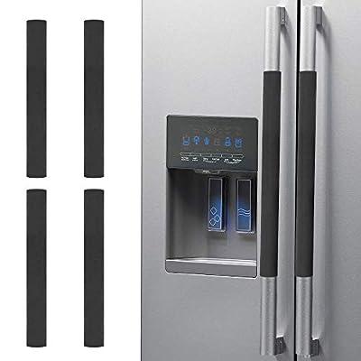 Nuovoware Refrigerator Door Handle Covers 4 Pack, Kitchen Appliance Fridge Oven Microwave Dishwasher Door Cloth Antiskid Protector Gloves, Keep Off Fingerprints, Liquid, Oil Stain, 40x12cm, Black