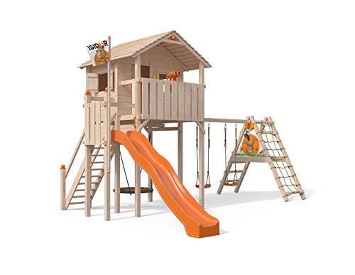 ISIDOR Domizilio Spielturm mit erweitertem Schaukelanbau, inkl. Sicherheitstreppe, XXL Rutsche, Balkon und Nestschaukel auf bis zu 2,00m Podesthöhe (Orange)