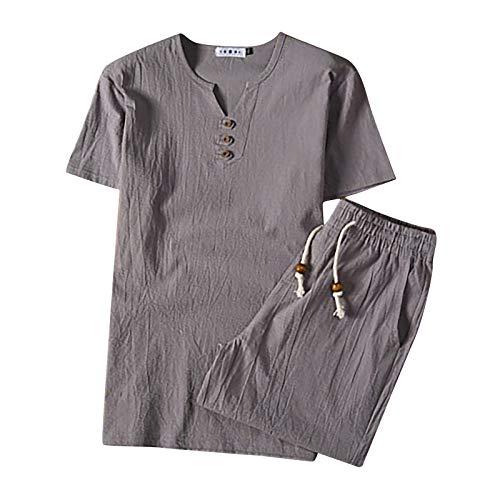 nopinpai Leinen Hemd Herren Zweiteiliger Leinenhemd-Shorts-Set Sommerhemd mit Kurz Hosen Sommer T-Shirt Bequem Kurzarm Tshirt Freizeit Hausanzug Basic Shirt Loose Fit Männer Freizeithemd