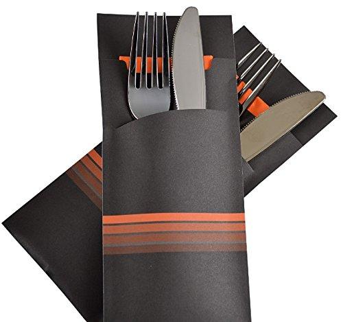 520 Bestecktaschen Serviettentaschen schwarz orange inklusive Serviette 33x33cm 2lg orange