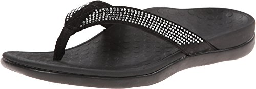 Vionic Women's Tide Rhinestones Toe-post Sandal - Ladies Flip-flop with Concealed Orthotic Arch Support Black 9 M US