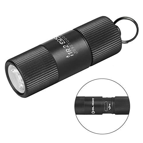 OLIGHT I1R EOS Lampe de Poche Mini Lampe LED Rechargeable 130 Lumens (12g) Petite Lampe Torche pour Porte-clé Torche-clé avec Chargement câble Micro-USB (Noir)