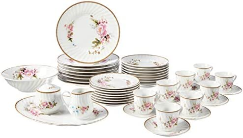 Ciera 45 Piece Timeless Rose Dinner Set with Gold Trim Vintage Floral product image