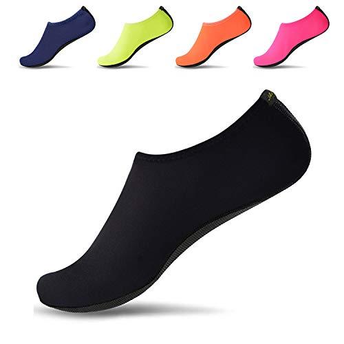 JACKSHIBO Men Women Quick-Dry Water Skin Shoes Aqua Socks for Water Indoor Sports Swim Surf Yoga Exercice Beach Pure Black 11-12.5 Women/10-10.5 Men