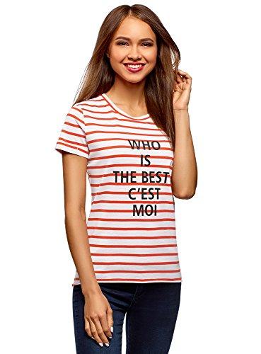 oodji Ultra Mujer Camiseta de Algodón con Estampado y Borde Inferior No Elaborado, Rojo, ES 42 / L