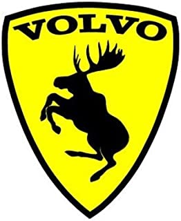 myswedishparts Volvo Prancing Moose Sticker 3 Inch Yellow with Black moose peel-n-stick