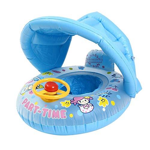 N-B Sombrilla Inflable para bebé, Anillo de natación, cojín Flotante de Verano para niños, Barco, Entretenimiento acuático, Piscina, Juguetes de Playa