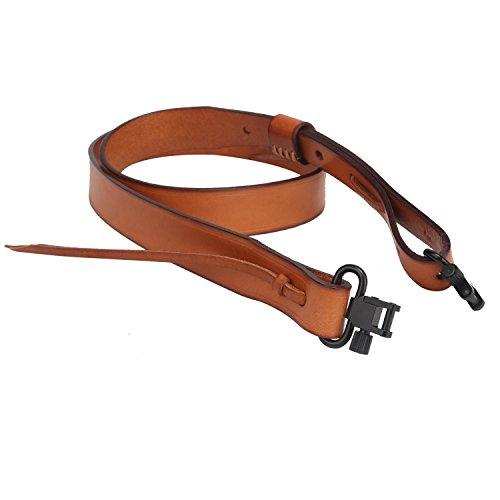 TOURBON Caza Deluxe Vintage Cuero Genuino Estilo Europeo Escopeta Rifle Gun Sling - Bronceado