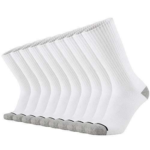 KMM Cotton Moisture Wicking Heavy Duty Work Boot Cushion Crew Socks Men 10 Pack(White)