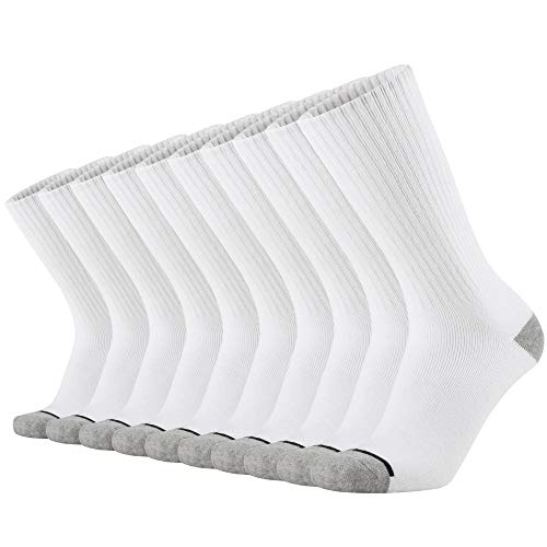 KMM Cotton Moisture Wicking Heavy Duty Work Boot Cushion Crew Socks Men 10 Pack(White)