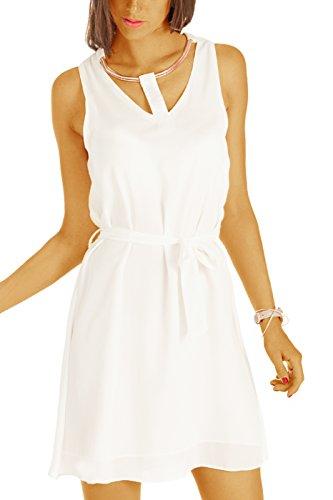 bestyledberlin Kurze Damen Kleider, Elegantes Cocktailkleid, Unifarbene Sommer-Kleider, Partykleider k78p-1 M/L weiß