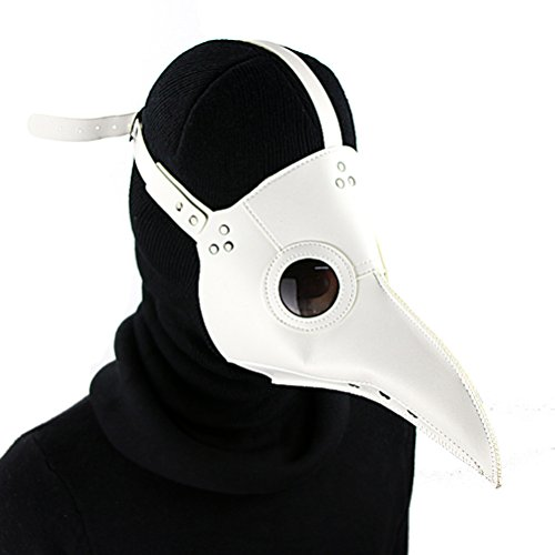 DM201605 PU Leather Mask Plague Doctor Mask Halloween Props Leather Mask Costume Plague Bird Doctor Nose Cosplay Mask for Adult (White)
