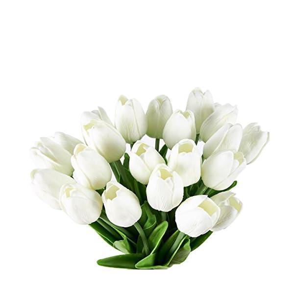 Juvale Tulipanes artificiales – Paquete de 24 flores de seda, ramo de tulipanes, flores falsas, bodas, día de San…