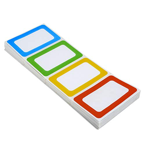 Plain Name Tag Stickers Colorful Border Name Tag Labels - 200 Stickers