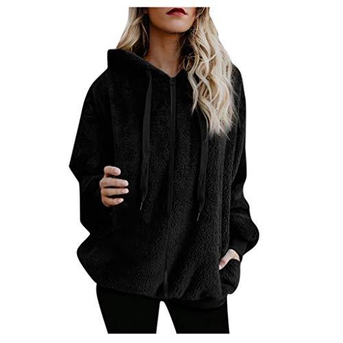 Reooly Sudadera con Capucha Abrigo de Mujer Chaqueta de Abrigo de algodón con Bolsillo de Cremallera de Lana cálida de Invierno