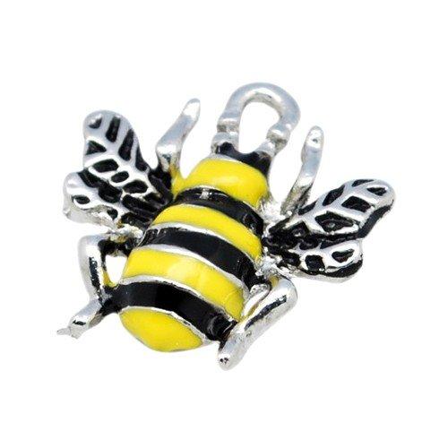 Enamel & Alloy Bee Charm Pendants Yellow/Black 18mm Pack of 10