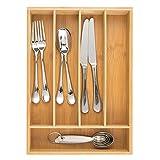 mDesign Cubertero de Madera de bambú – Moderno Organizador de Cocina para cajones – Separador de cajones para Cocina, Oficina, baño y Dormitorio – Color bambú