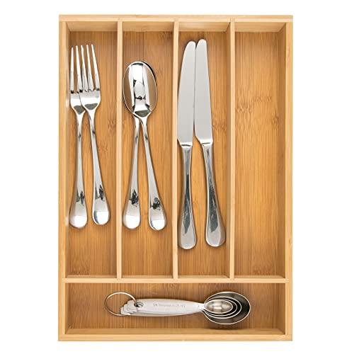 mDesign Besteckkasten aus Bambus – moderner Küchen Organizer für Schubladen – Schubladeneinsatz für Küche, Büro, Badezimmer und Schlafzimmer – bambusfarben