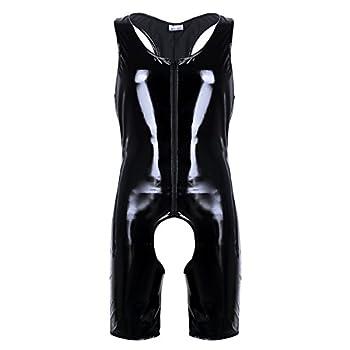 iEFiEL Men Patent Leather Romper Bodysuit Club Studio Stage Catsuit Zipper Costume Black Zipper Large