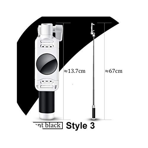 Mini Selfie Stick Met Knop Bedraad Siliconen Handvat Monopod Universeel Voor iPhone 6 5 Android Samsung Huawei Xiaomi Sticks, Style 3 Black