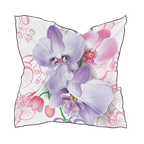 MONTOJ - Bufandas cuadradas para mujer, con sombra de orquídeas, material de seda