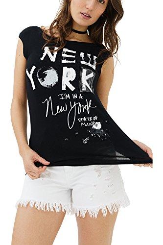 trueprodigy Casual Mujer Marca Camiseta De Tirantes con impresión Estampada Ropa Retro Vintage Rock Vestir Moda Cuello Redondo Sin Manga Slim Fit Designer Fashion Top, Colores:Black, Tamaño:M