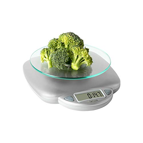 Taylor Precision Products 11lb Digital Glass Top Household Kitchen Scale, Universal, Silver
