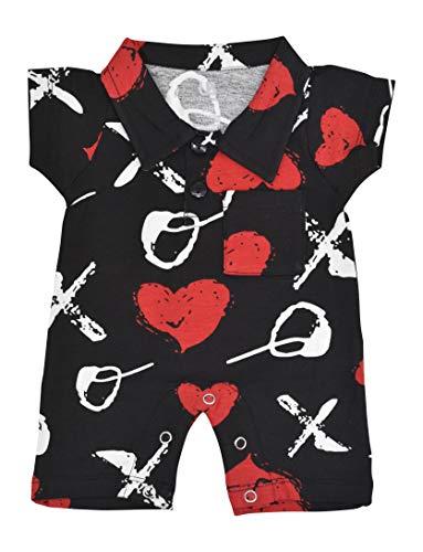 Unique Baby Valentine's Day XO Gentleman Romper Outfit Cotton Romper (9m) Black