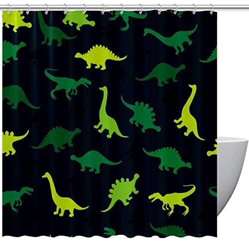 Duschvorhang, gelbgrünes Dinosaurier-Muster, schwarzer Badezimmervorhang, Badezimmer-Duschvorhang mit Haken, Kinder-Badezimmerdekoration