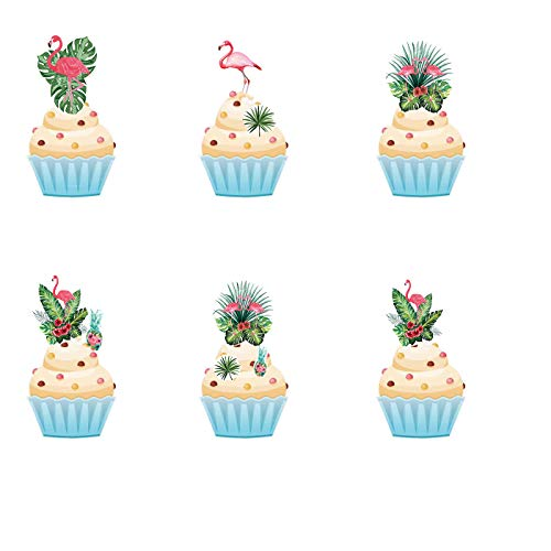 36pcs Edible Flamingo cake & Cupcake Toppers Cake Bird Decoration by Wafer Paper Mixed Colour