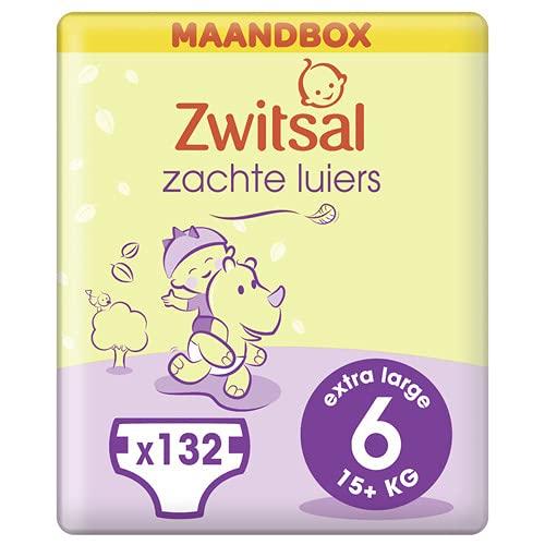 Zwitsal Luier Junior XL Maat 6 (15+ kg), met comfortabele en zachte pasvorm - 132 luiers - Maandbox