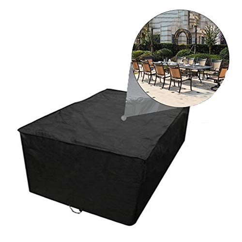 GZHENH-Rattan Furniture Covers ,Sofa Cover Dust-Proof Fade Resistant Waterproof Oxford Cloth Grill Cover with Drawstring,Customizable (Color : Black, Size : 180x120x74CM)