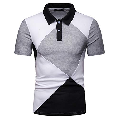 SPE969 Polo Man! Casual Slim Top Blouse Patchwork Short Sleeve T Shirt (L, Black-A)