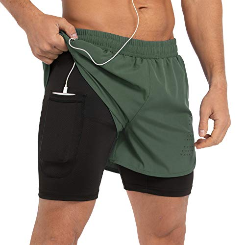 Gesean Men's 2 in 1 Running Shorts 5' Quick Dry Gym Athletic Workout Shorts for Men with Phone Pockets Army Green Large