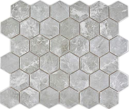 Mosaico de cerámica hexagonal hexagonal mármol gris brillante pared suelo cocina ducha baño azulejos azulejos mosaico mosaico mosaico mosaico mosaico mosaico mosaico mosaico placa placa