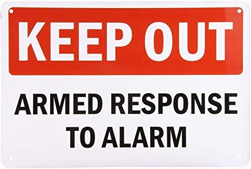 YY-one Letrero de lata con texto en inglés 'Leyenda Keep Out-Armed Response to Alarm', color negro/rojo sobre blanco, aluminio para decoración de pared, 20 x 30 cm