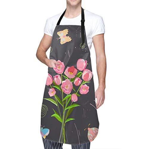 SUUJ Belles Tulipes Papillons colorés Plat imperméable Oxford Tablier de Cuisine réglable avec 1 Grande Poche pour Chef Femmes Hommes Enfants