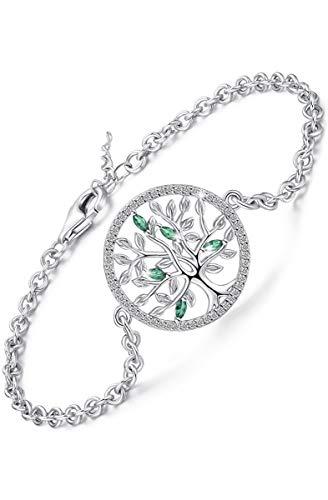 Bracciale Albero della vita da donna, Bracciale in argento sterling Catena con zirconi & Smeraldo, Bracciale albero a maglie regolabili Regalo gioielli per donna (Con astuccio per gioielli Box)