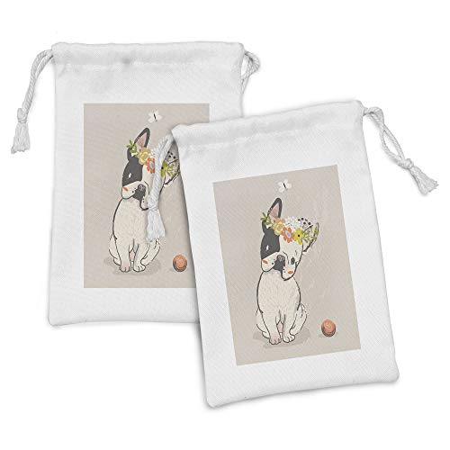 Lunarable Dog Fabric Pouch Set of 2, Hand Drawn French Bulldog Wreath on Its Head Watercolor Domestic Pet Illustration, Small Drawstring Bag for Toiletries Masks and Favors, 9' x 6', Multicolor