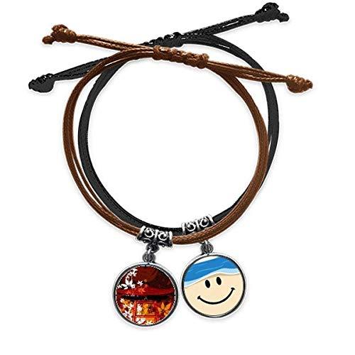 Bestchong Japanischer Stil Blätter Pavillon-Armband Seil Handkette Leder lächelndes Gesicht Armband