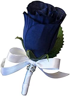 Boutonniere - Artificial Navy Blue Rosebud with White Ribbon. Pin Included.