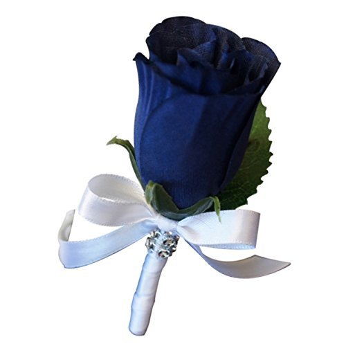 Angel Isabella Boutonniere - Artificial Navy Blue Rosebud with White Ribbon. Pin Included.