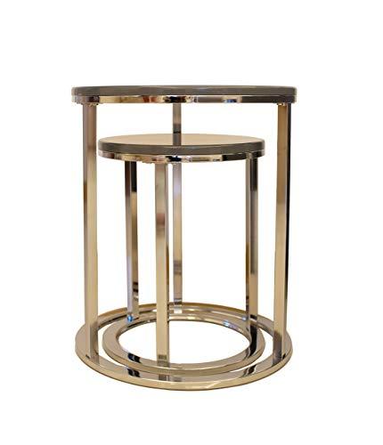 ASPECT Paloma Set of 2 Round Nesting Table (Grey/Chrome), L 40 diax50 S 30 diax40(H) cm